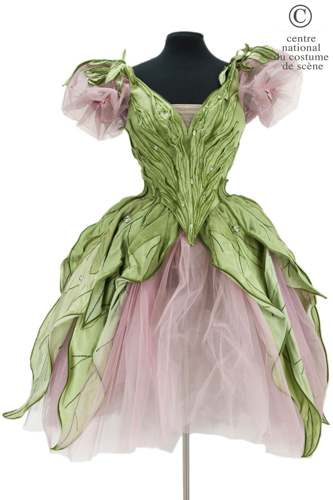 Opera National de Paris Long pink tulle tutu, bustier, basque green silk and crystal-shaped leaves, garnished with iridescent cabochons. Piquet pink flowers.