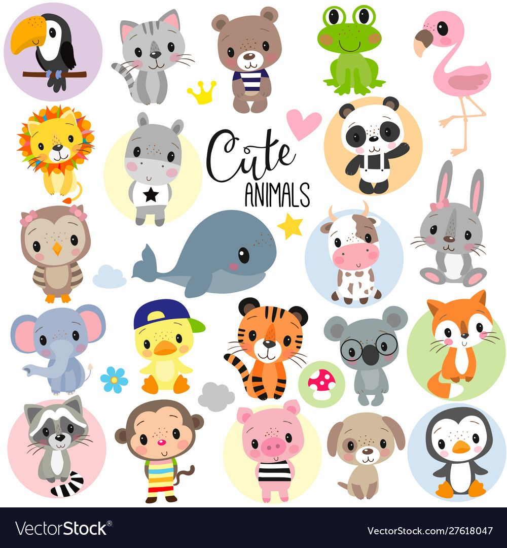 Set Of Cute Cartoon Animals On A White Background Download A Free Preview Or High Qualit Baby Animal Drawings Cartoon Drawings Of Animals Cute Cartoon Animals