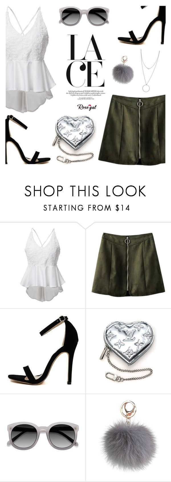 """14 Lace top Rosegal"" by wannanna ❤ liked on Polyvore featuring Louis Vuitton, Ace and Botkier"