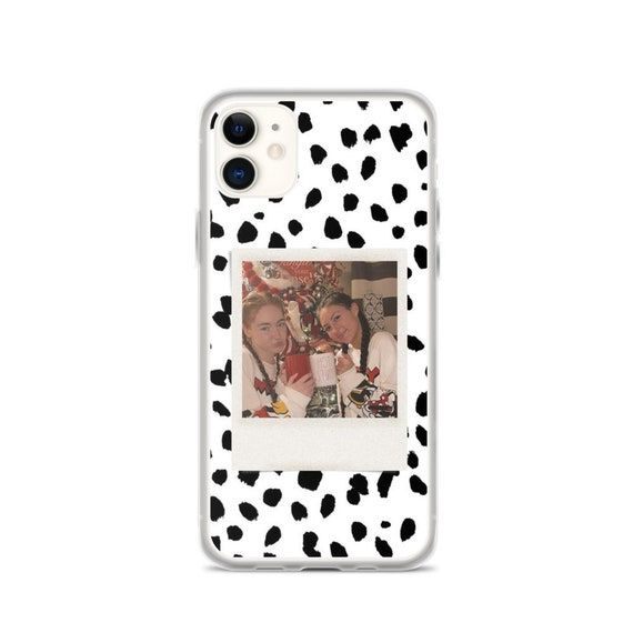 Dalmatian Print Polaroid iPhone Case, Custom iPhone Case, Custom Memory Polaroid Clear Phone Case With Photos, Gifts For Her.