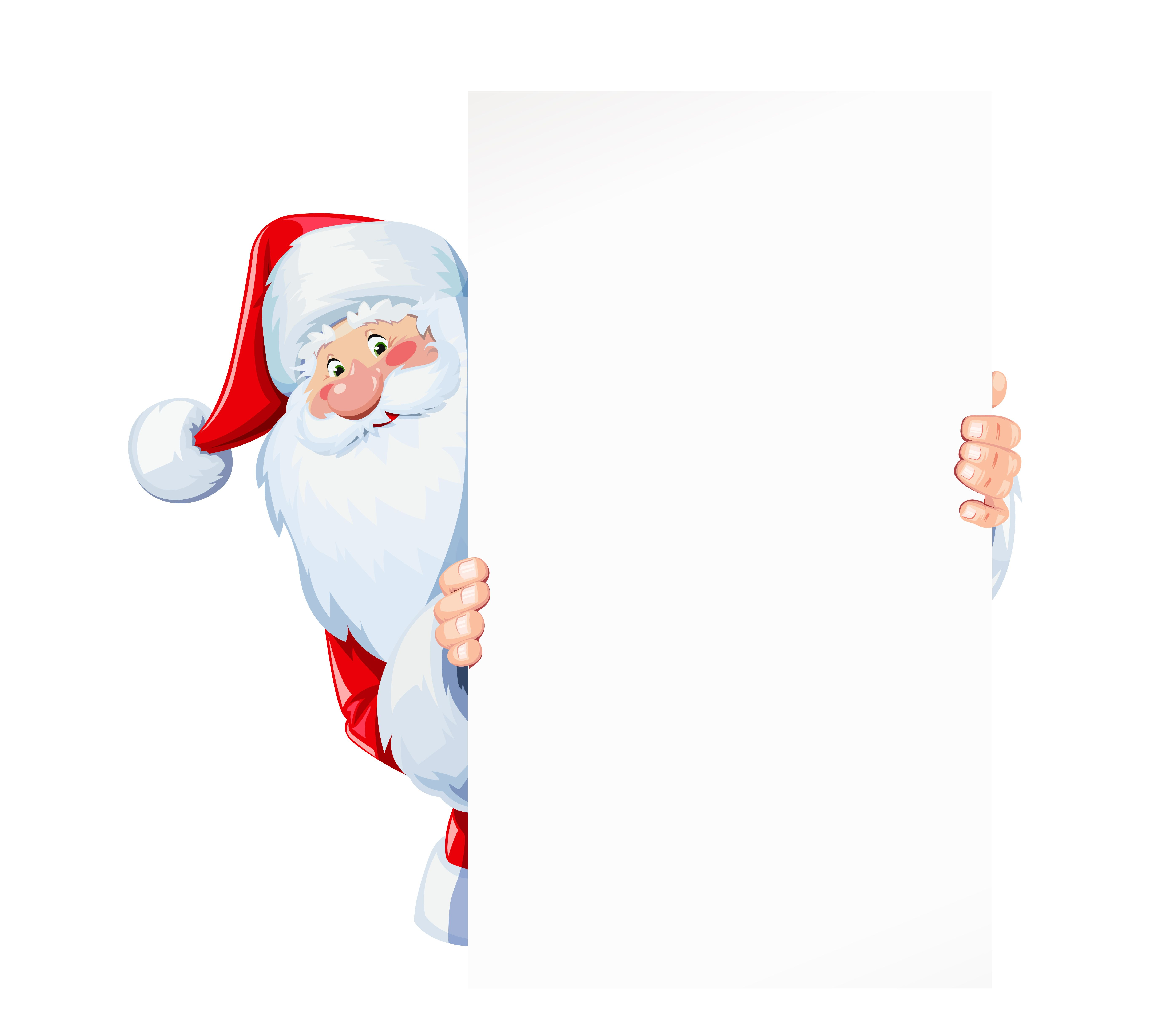 Santa Claus hold sheet of blank paper plate. Christmas