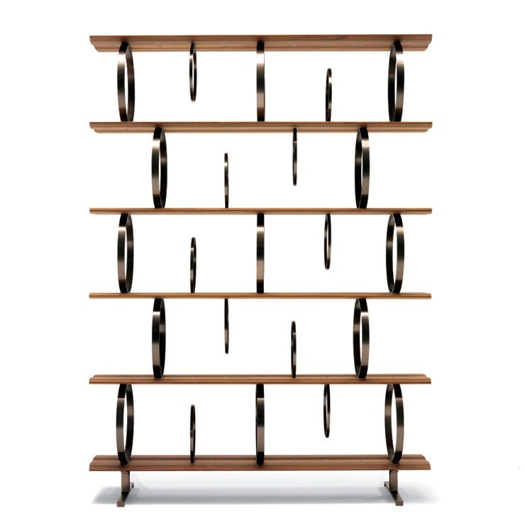 Flying circles estantería modular con estantes de nogal americano