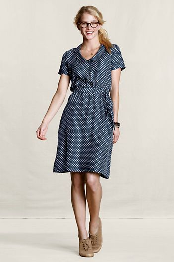 Canvas-Land's End  Women's Silk Polka-Dot Dress  $130