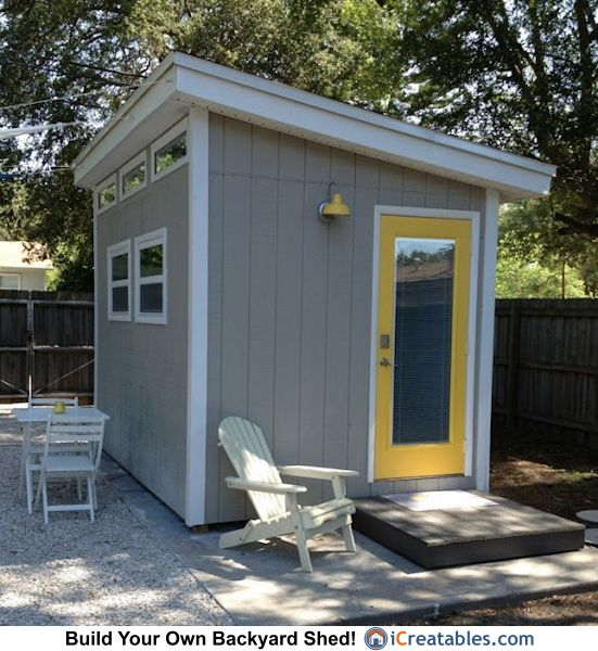 office shed plans. 8x12 Modern Shed Plans - DIY Office \u0026 Studio Designs P
