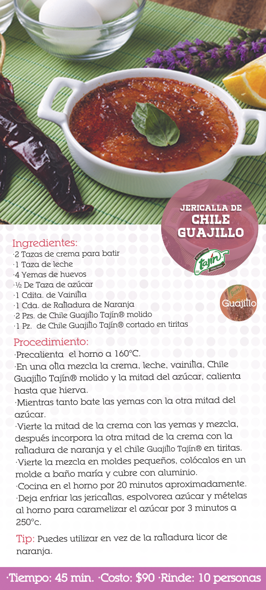 Receta jericalla de chile guajillo (chiles secos)