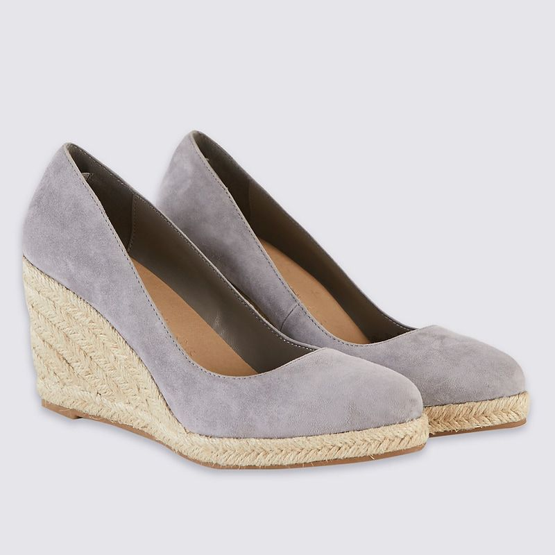 abcbcb9486b5 For the Monsoon  Fleur  Taupe Suede Espadrille Wedges
