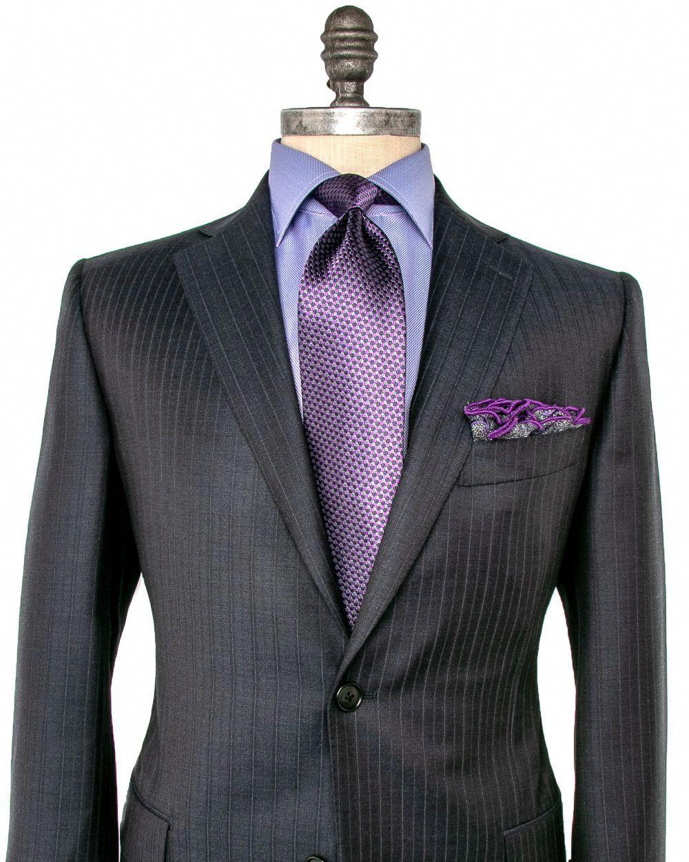 Black Pinstripe Suit Shirt Tie Combinations