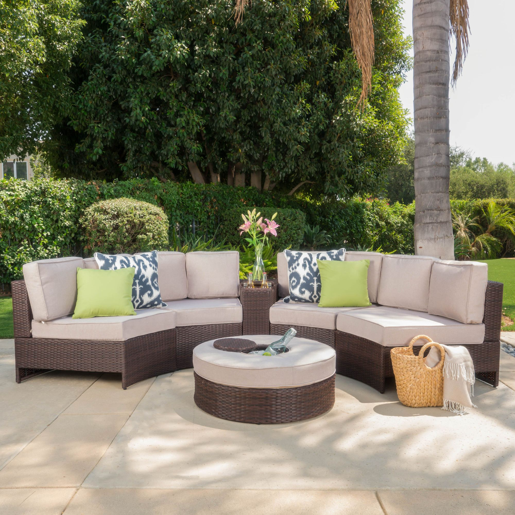 Daniela 6 Piece Sectional Seating Group with Ice Bucket Ottoman