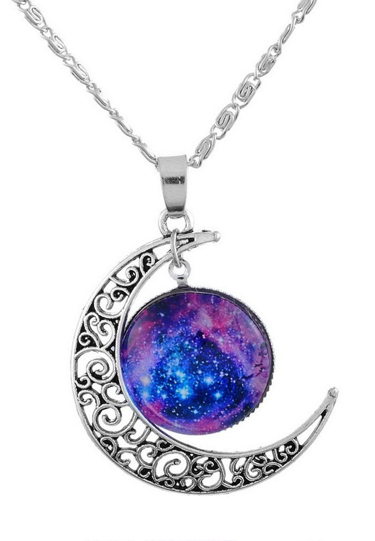 8b42ba2120f3 Godagoda Couleur Argent Vieilli Collier avec Pendentif Lune en Croissant  Cabochon Galactique  Amazon.fr  Bijoux