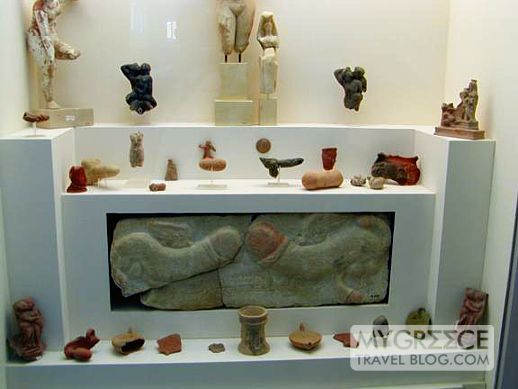 Ancient Sex Toys - Phallic symbols and sex-themed artifacts in a display case