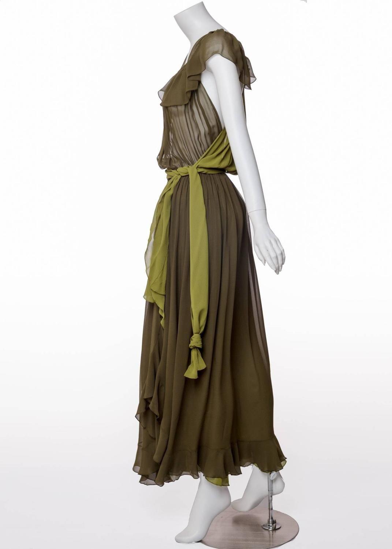 ba94581184f Vinateg Yves Saint Laurent Green Silk Chiffon Ruffled Goddess Evening Gown