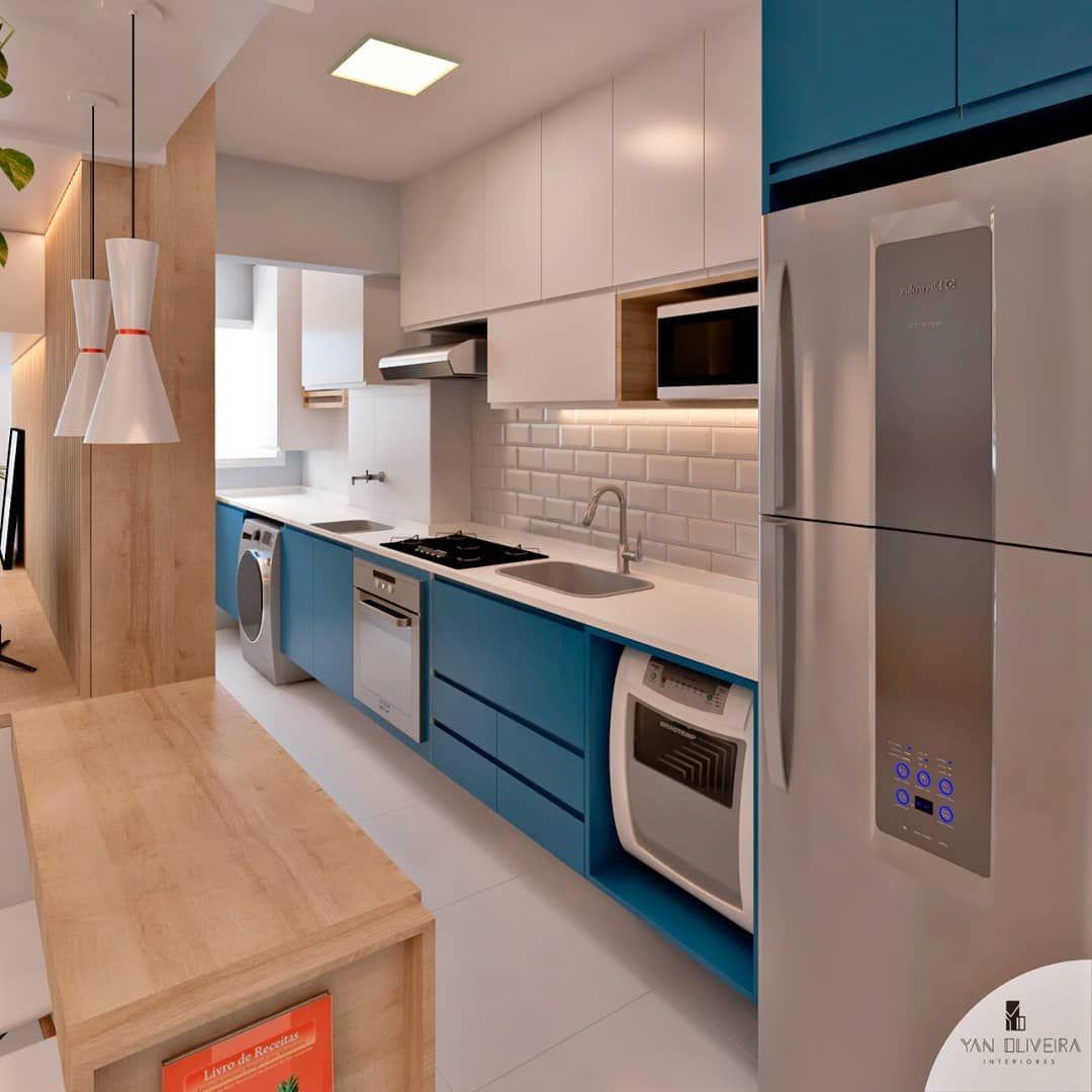 Cozinha Azul E Branca Projeto Feito 100 A Distancia Para