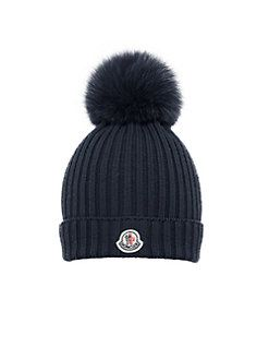 Moncler - Toddler s   Girl s Fox Fur Pom-Pom Berretto Wool Snow Hat ... 763932557d9