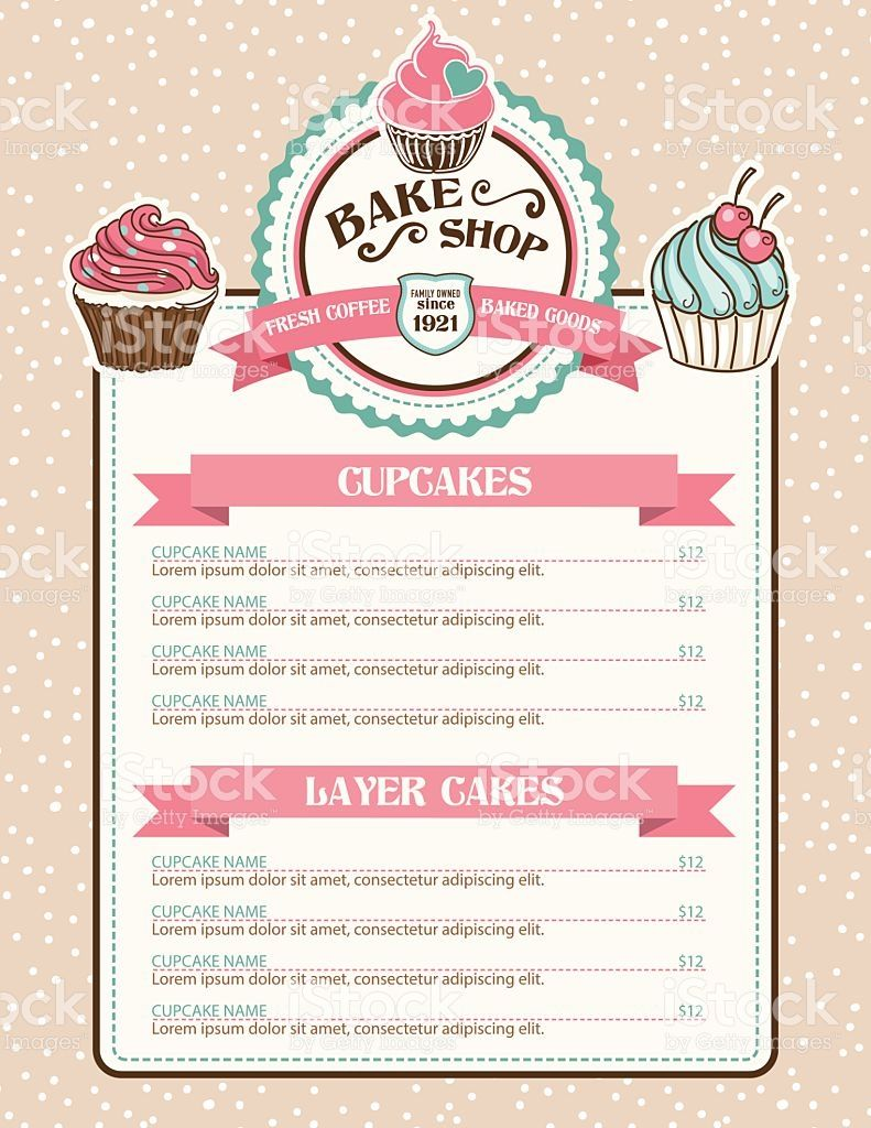 Bake Shop Or Cafe Stickers Menu With Cupcake And Ribbon