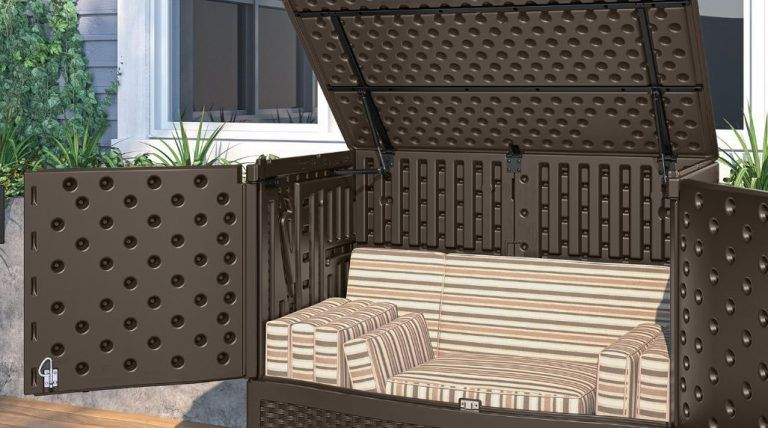 Suncast Extra Large Vertical Deck Box: Stylish Wicker Effect Facade,  Combines Extra Large Storage · Patio Cushion ...