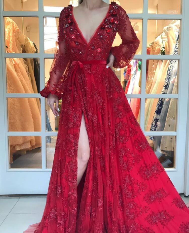 Luxury Rot Abendkleider Spitze Lang Ärmel A Linie ...