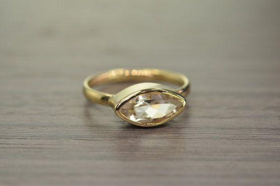 Navette Ring size 8.5 Morganite 1.5ct engagement ring by EdwardOwl