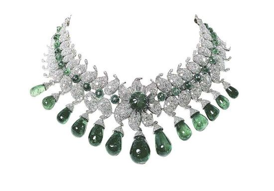 The 'Baroda Necklace' commissioned by Sita Devi, Maharani of Baroda,  from Van Cleef & Arpels set with 154 carats of emeralds.