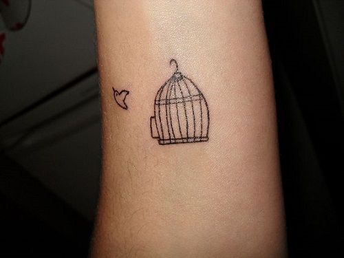 100 Small Bird Tattoos Designs With Images Piercings Models Simple Bird Tattoo Cage Tattoos Birdcage Tattoo