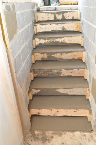How to pour concrete stairs one project closer food for Basement forms