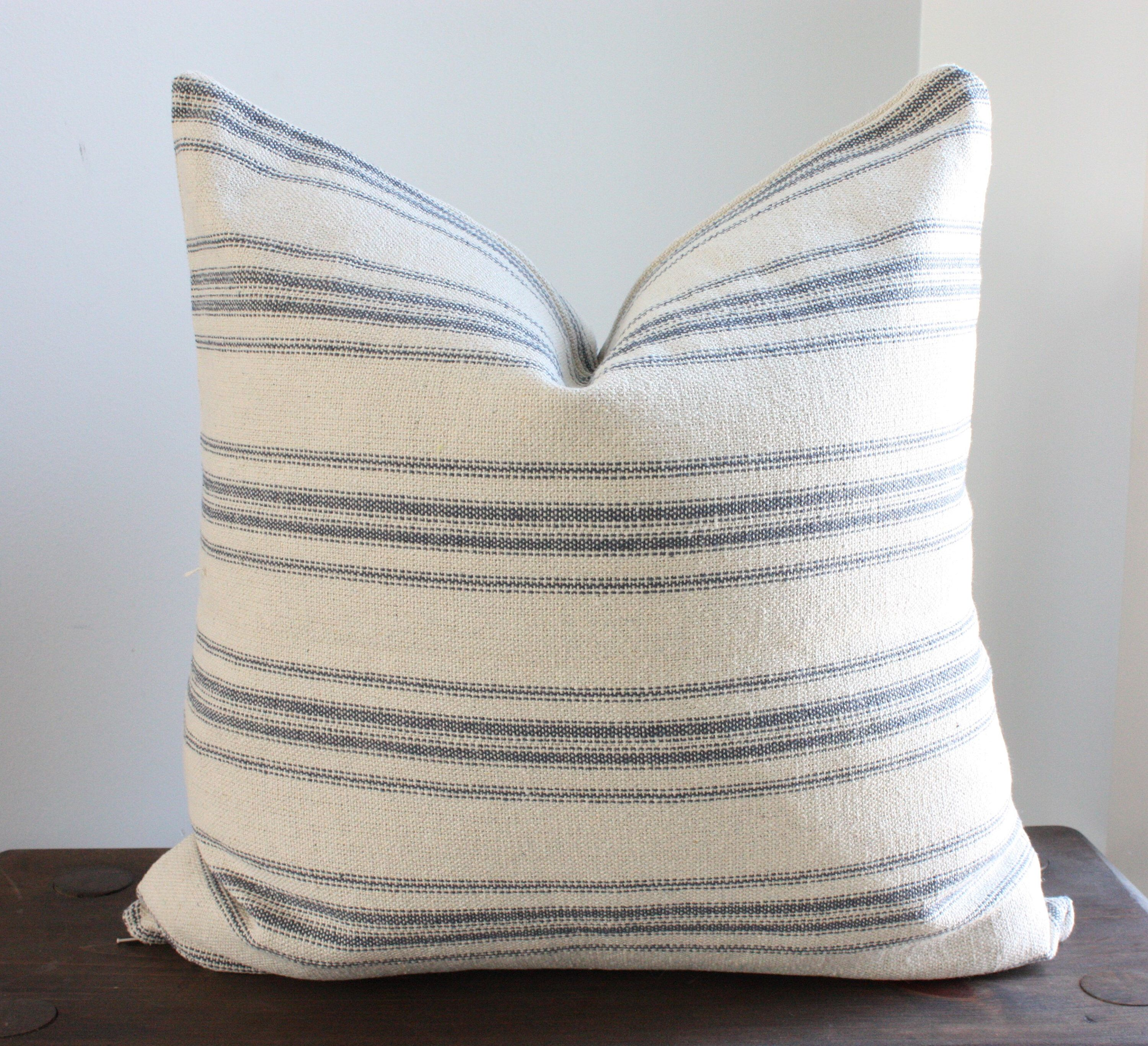 Beige with blue stripes grain sack style pillow cover