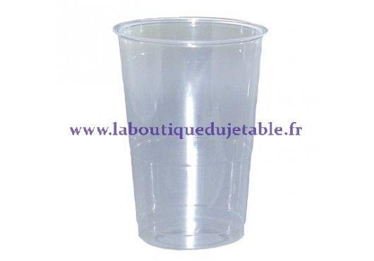 Gobelet en plastique cristal transparent et recyclable. 20 cl pour un jus d'orange ou un verre d'eau. 30 cl pour un demi.  http://www.laboutiquedujetable.fr/34-gobelet-plastique