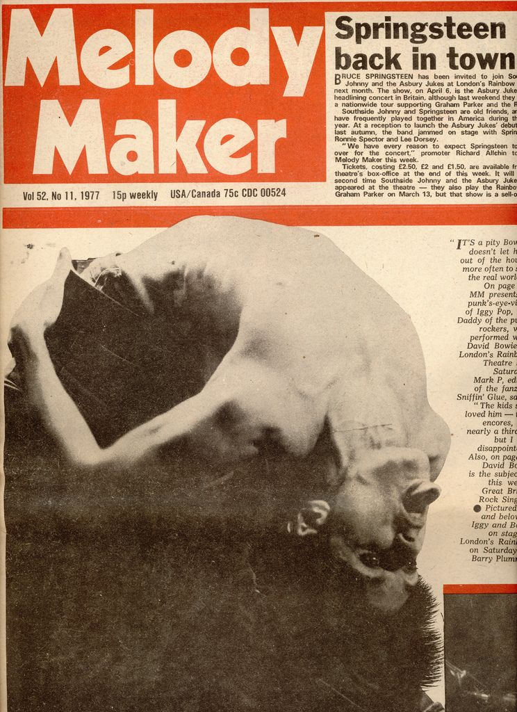 Iggy Pop featured in Melody Maker, 1977