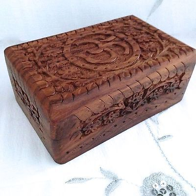 New om design hand #carved wooden box, #jewellery, trinkets, #hinged lid, feng sh,  View more on the LINK: http://www.zeppy.io/product/gb/2/171846244924/