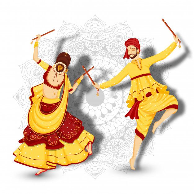 Character Of Couple Dancing With Dandiya Sticks