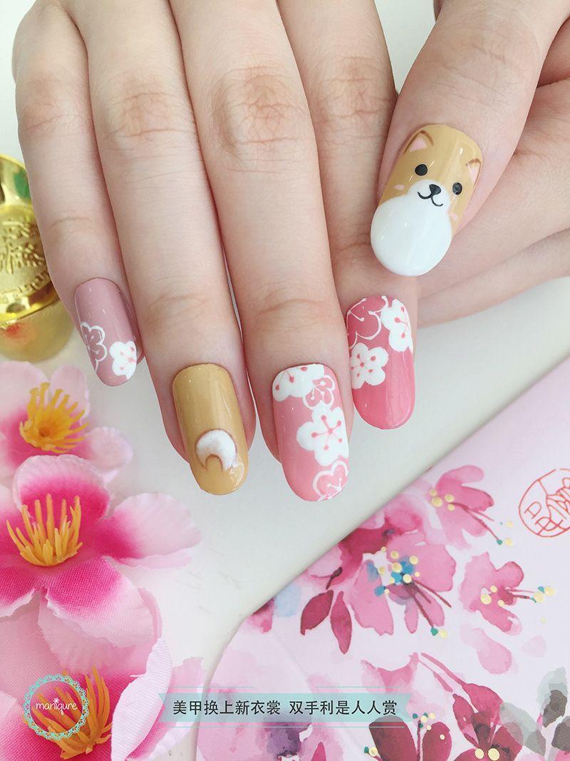 Chinese New Year Nail Art Cny Manicure New Years Nail Art Dog Nail Art Nail Art Mani