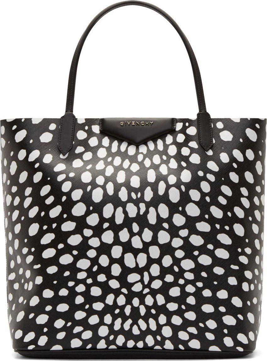 Black  amp  White Animal Spot Medium Antigona Shopping Tote by Givenchy.  Etched PVC shopper b44d8781a800f