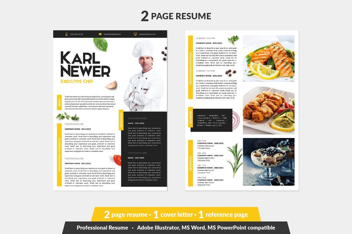 Executive chef resume template in 2020 chef resume