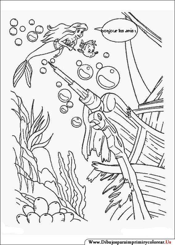 Dibujos de La Sirenita para Imprimir y Colorear   ARIEL   Pinterest ...