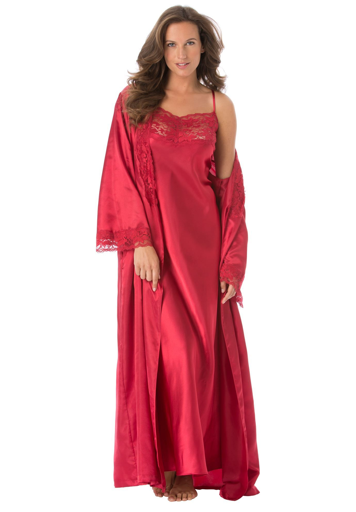 4688a4f5132 Plus Size Long satin peignoir set