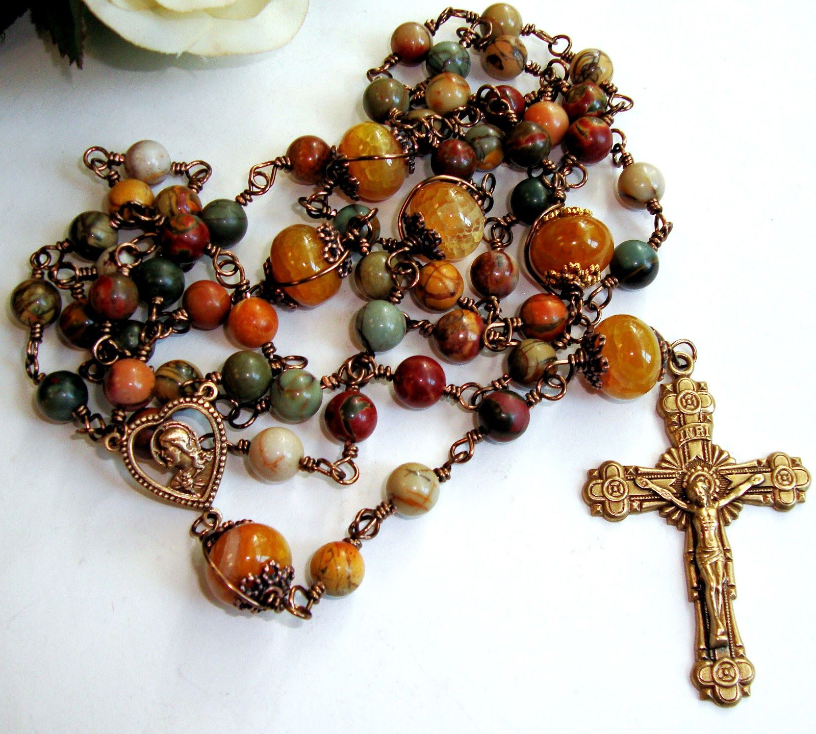 Etsy rosary guild team catholic rosary of picasso jasper and bronze