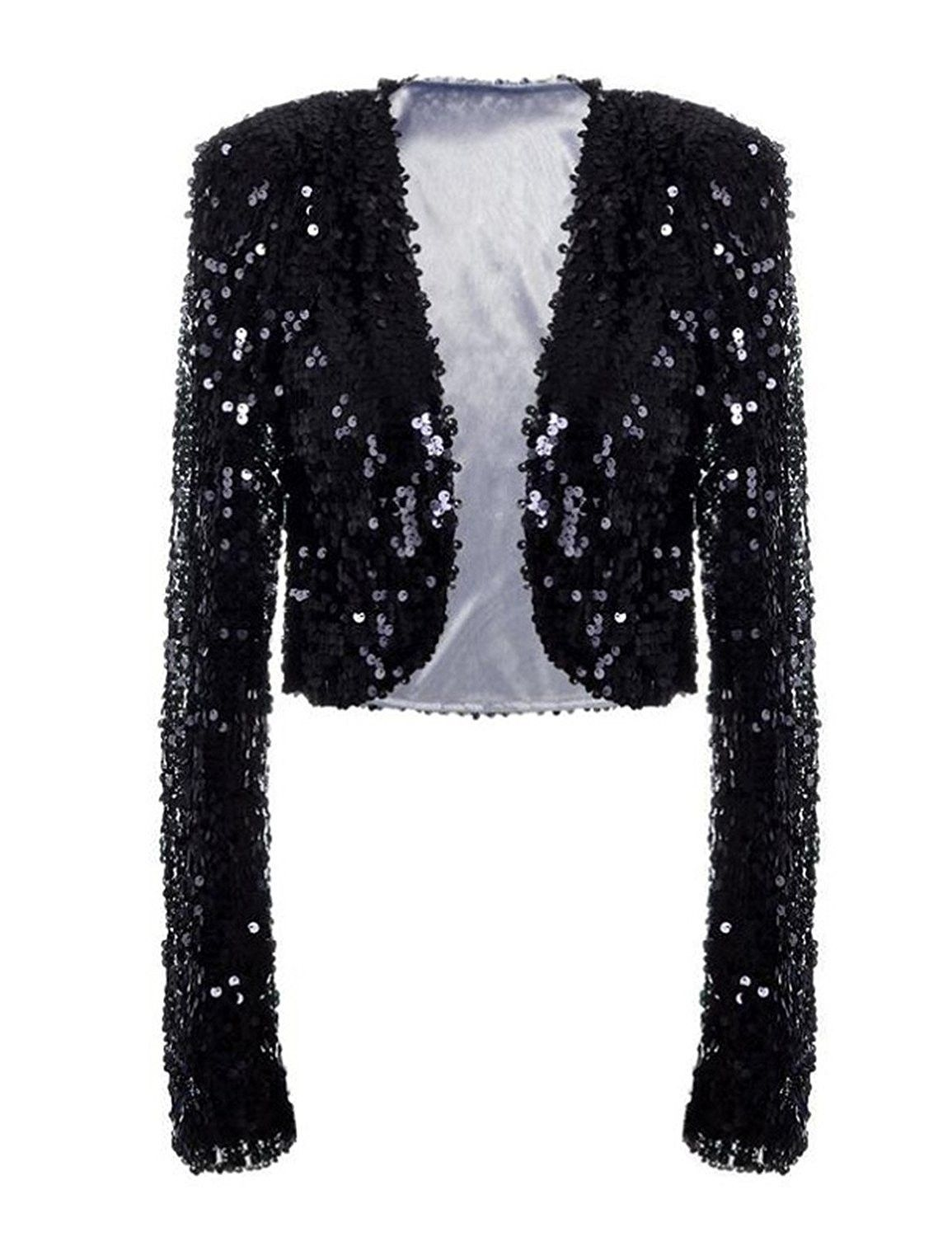 258a01827f Womens Sequin Jacket Long Sleeve Glitter Cropped Bolero Shrug ...