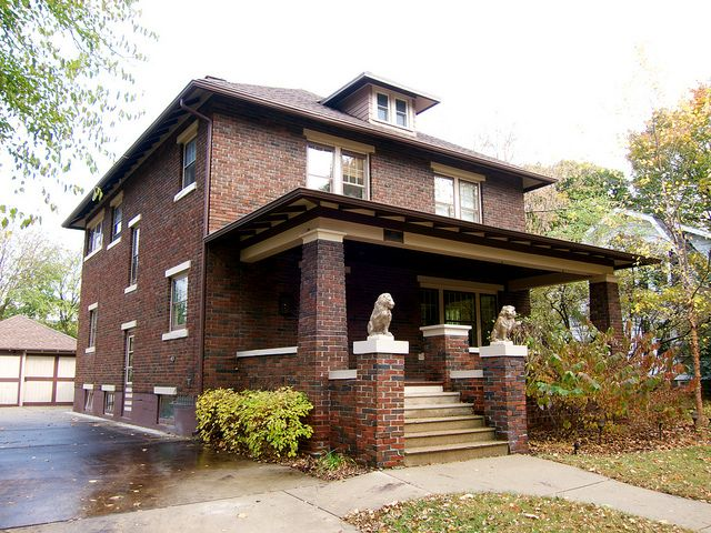 A Lovely Brick American Foursquare House In Whitewater Wi Brick Exterior House Four Square Homes House Design Photos