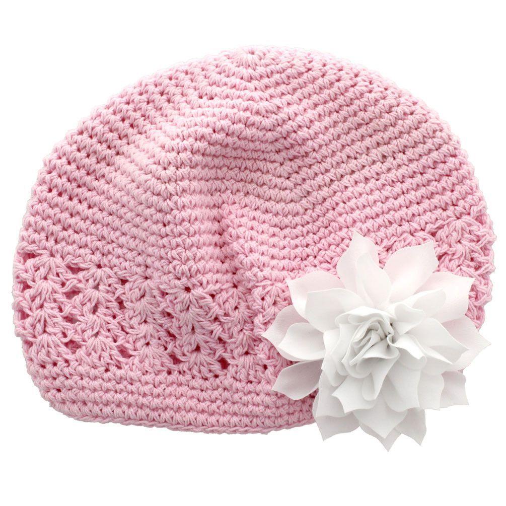 Baby kufi crochet beanie hat hair flowers pink and babies baby kufi crochet beanie hat bankloansurffo Choice Image