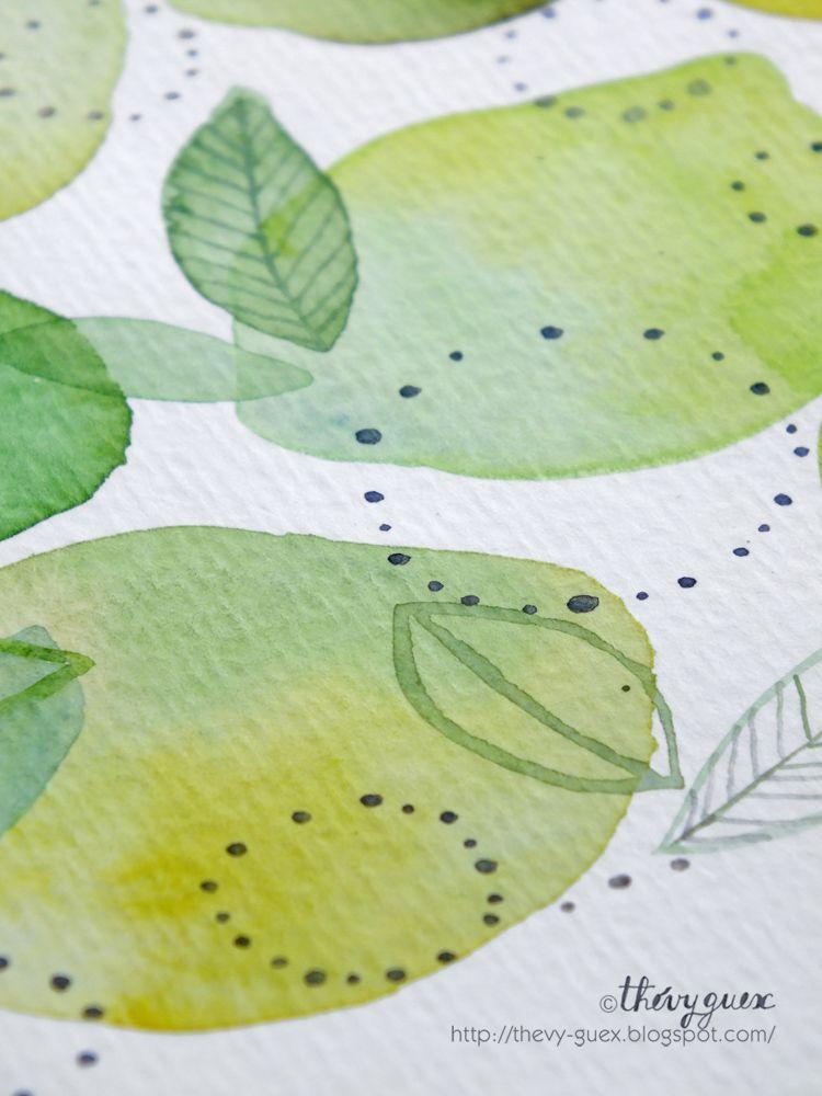 Citron Jaune Et Citron Vert Lemon And Lime Watercolor Art