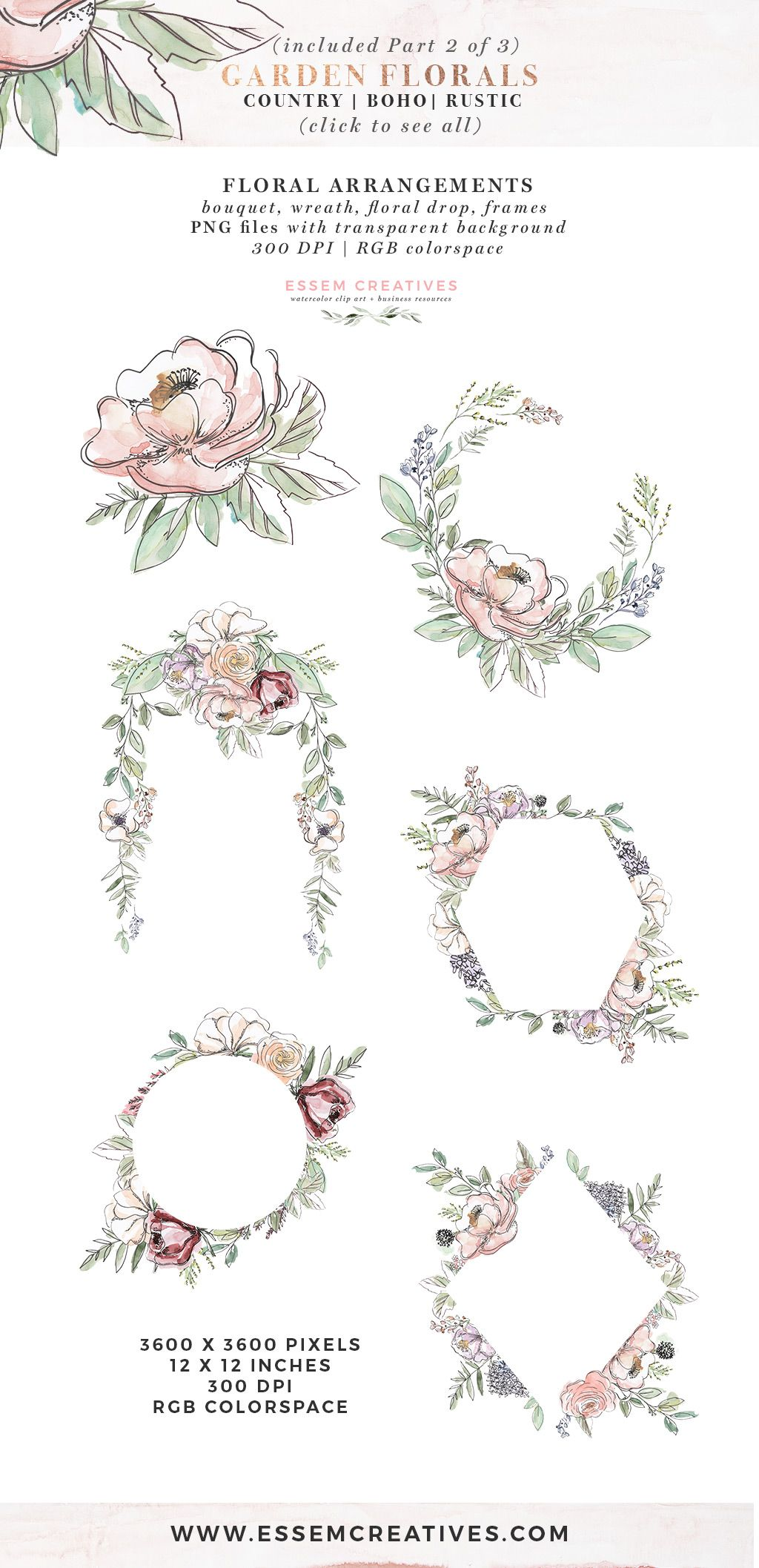 Garden Floral Watercolor Flowers Clipart Boho Rustic Farmhouse