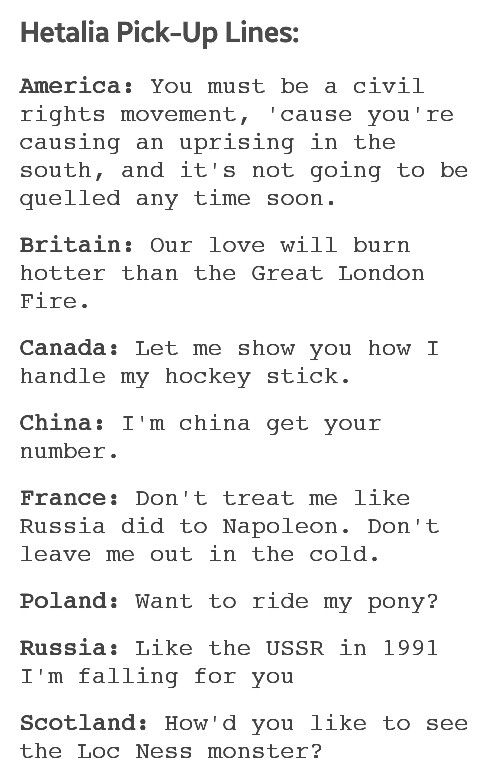 Canadian chat up lines