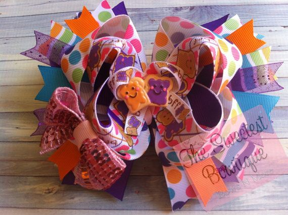 Pb stacked over the top best friends boutique bows, girls boutique clothing, fall boutique sets, felties, on Etsy, $10.00