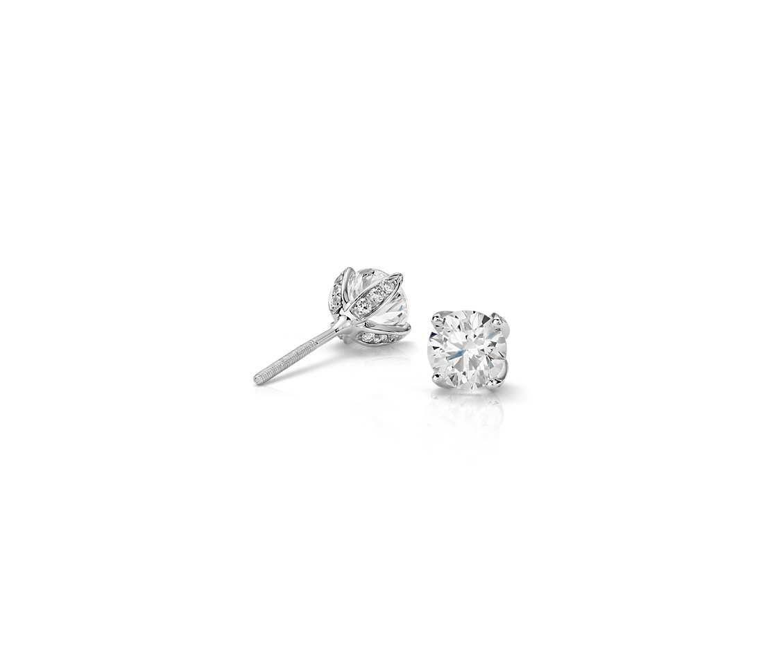 Monique Lhuillier Pave Petal Diamond Earrings In Platinum 1 Ct Tw Blue Nile Earrings Diamond Fashion Diamond Earrings Studs