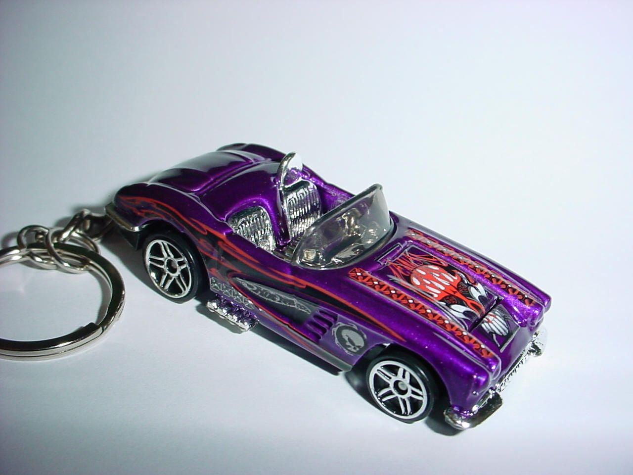 New 3D 1958 Chevrolet Corvette Custom Keychain keyring key chain by Brian Thornton finished in purple/flames racing color trim 58 by Thorntongifts on Etsy