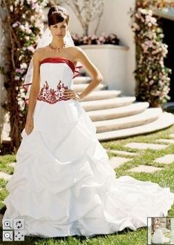 360f9f6f772 David s Bridal White Satin Elegant Apple Red Accent with Pick-ups ...