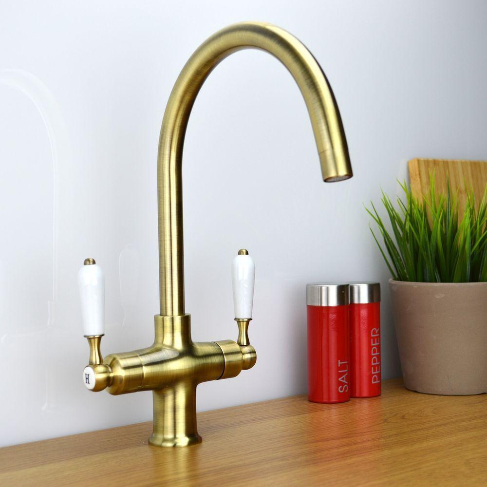 ENKI Twin Lever Traditional Bronze Monobloc Kitchen Sink Mixer Tap ...