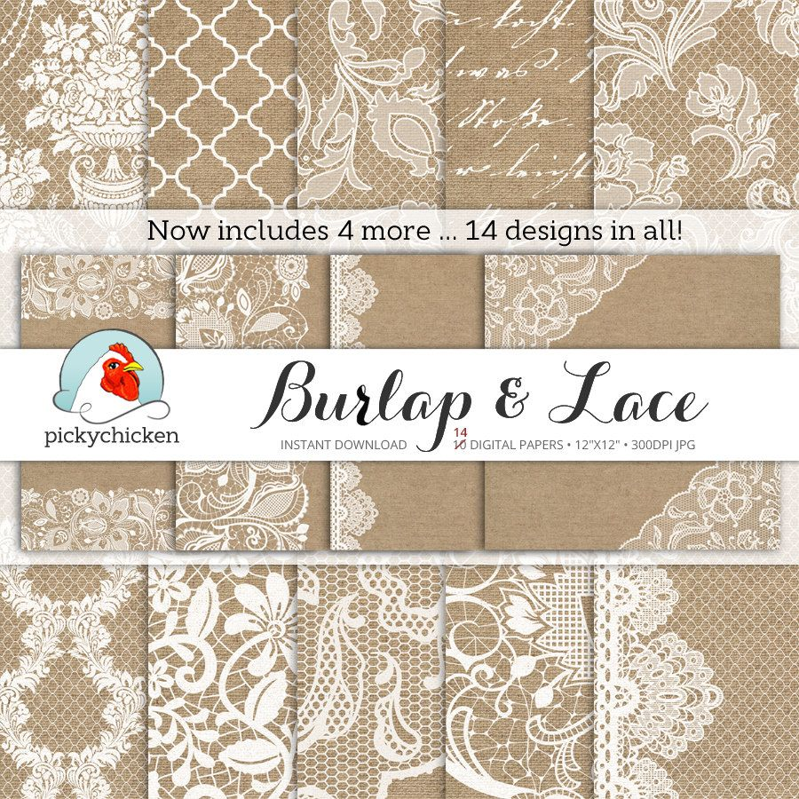 Burlap Lace Digital PaperBurlap Paper With Brown Background White Texture Wood