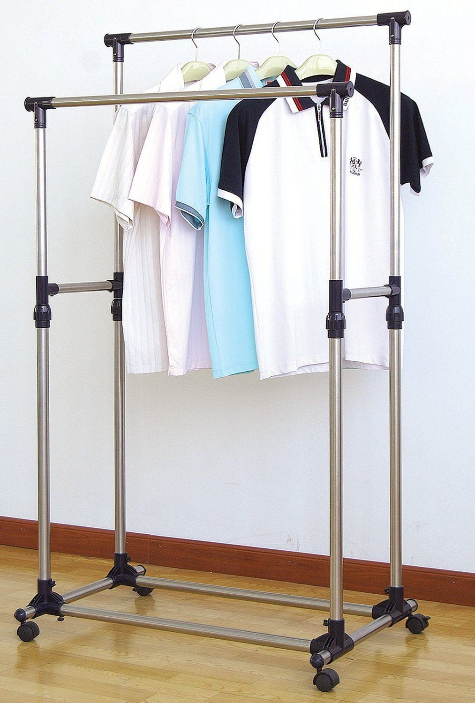 Prosource Double Rail Adjustable Telescopic Garment Rack