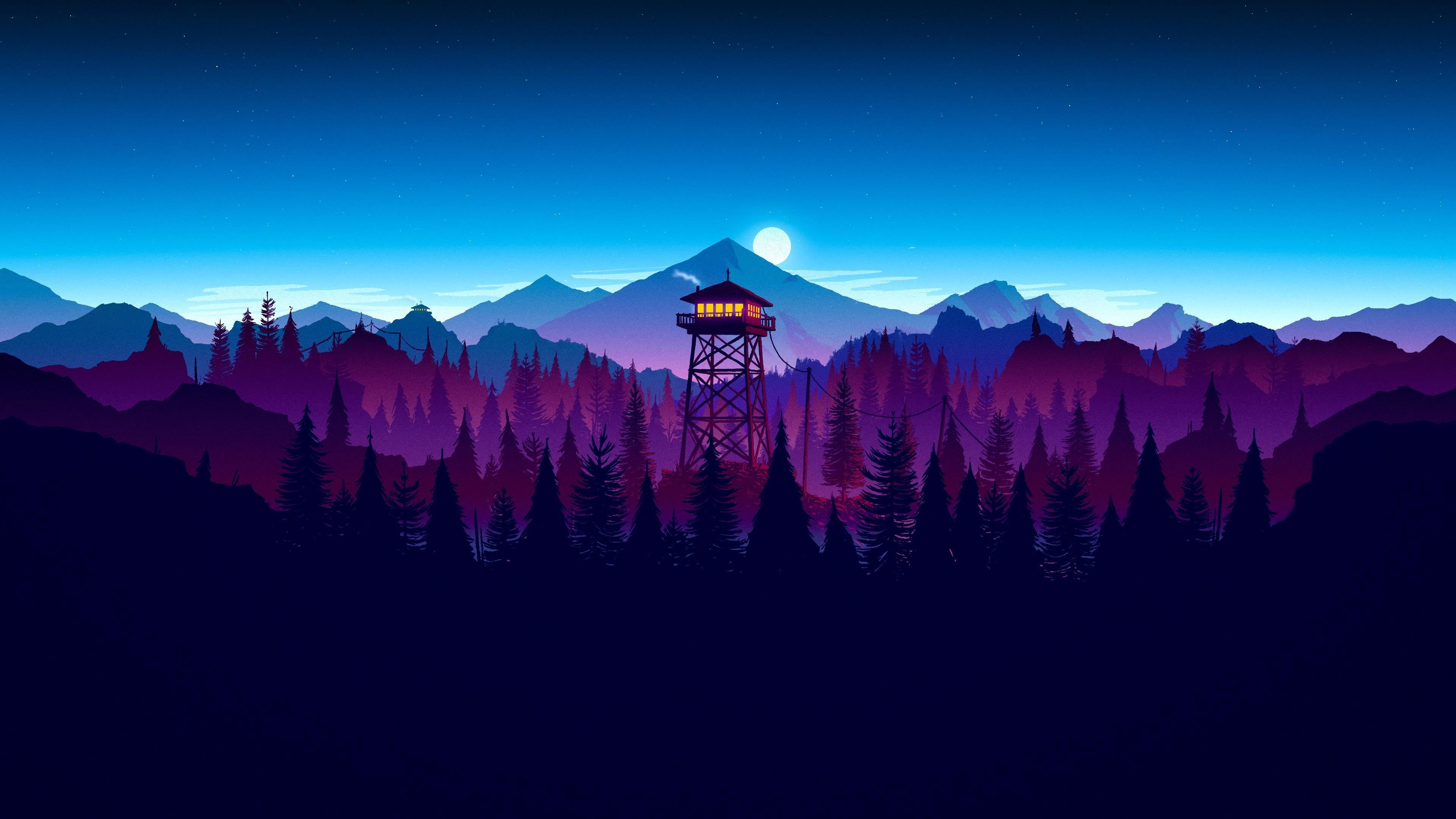 Minimalist Firewatch Good For Dual Monitors 3840x2160 In 2020 Sunset Artwork Digital Wallpaper Gaming Wallpapers