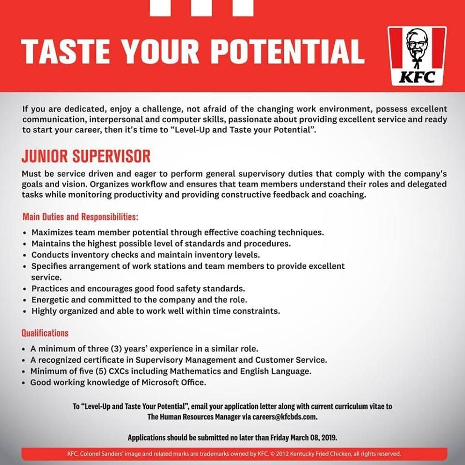 Kfc Barbados Is Seeking A Junior Supervisor Apply Here Job